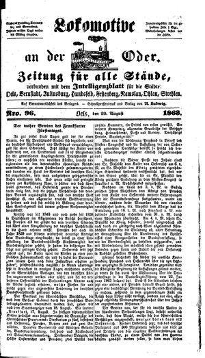 Lokomotive an der Oder vom 20.08.1863