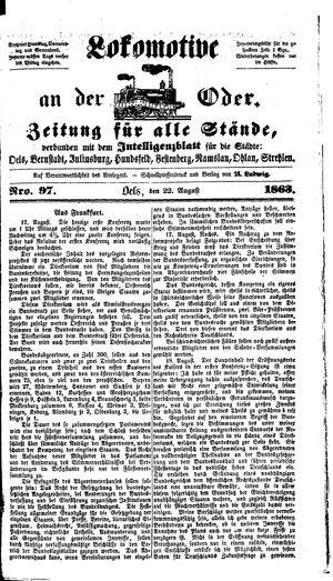 Lokomotive an der Oder vom 22.08.1863