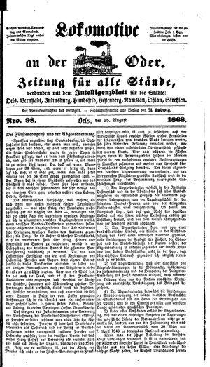 Lokomotive an der Oder on Aug 25, 1863