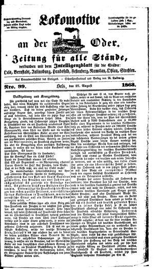 Lokomotive an der Oder vom 27.08.1863
