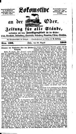 Lokomotive an der Oder vom 29.08.1863