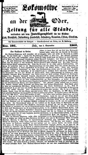 Lokomotive an der Oder vom 01.09.1863