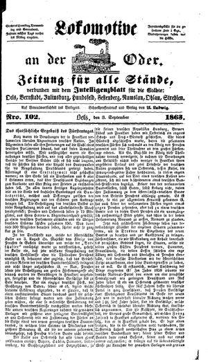 Lokomotive an der Oder vom 03.09.1863