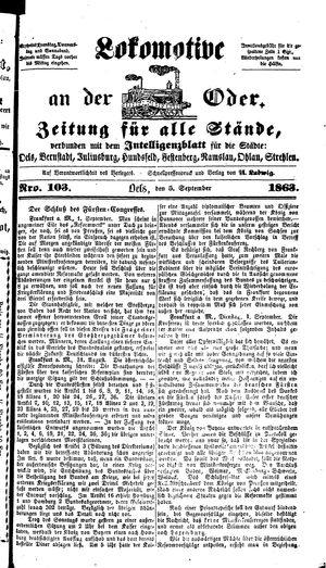 Lokomotive an der Oder vom 05.09.1863