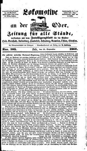 Lokomotive an der Oder vom 10.09.1863