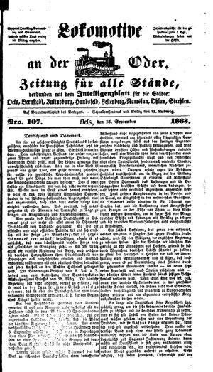 Lokomotive an der Oder vom 15.09.1863