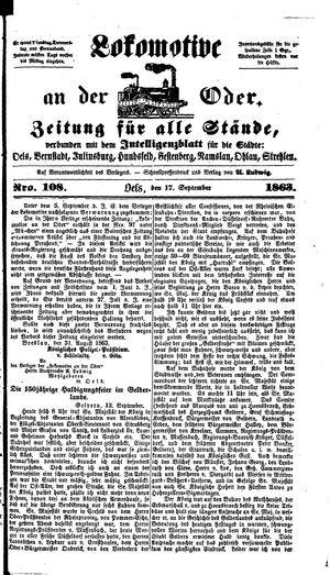 Lokomotive an der Oder vom 17.09.1863