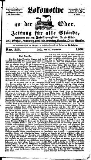 Lokomotive an der Oder vom 29.09.1863