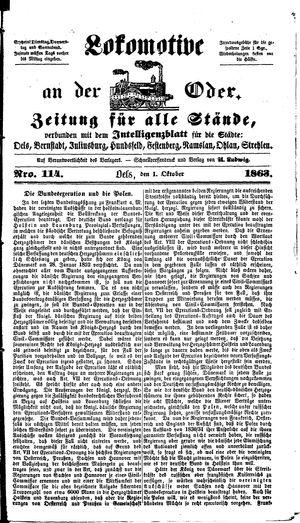 Lokomotive an der Oder vom 01.10.1863
