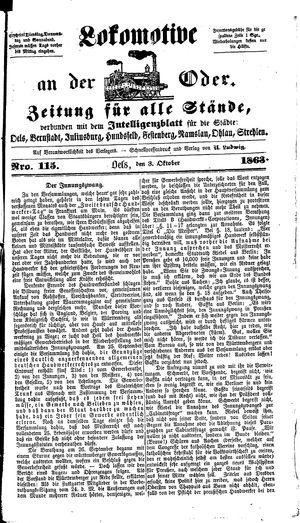 Lokomotive an der Oder vom 03.10.1863