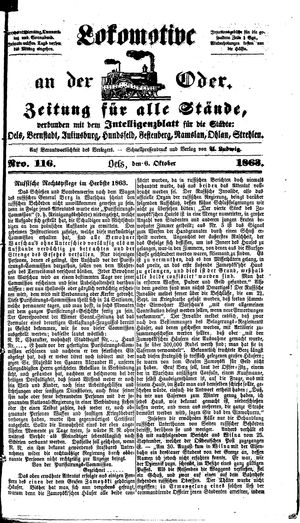 Lokomotive an der Oder vom 06.10.1863