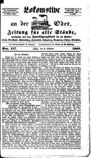 Lokomotive an der Oder vom 08.10.1863
