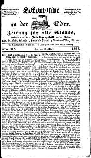 Lokomotive an der Oder vom 10.10.1863