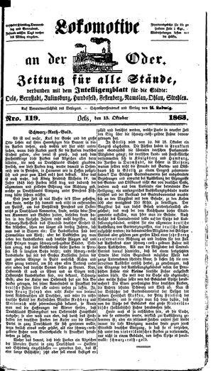 Lokomotive an der Oder vom 13.10.1863