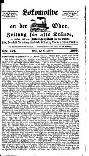 Lokomotive an der Oder vom 17.10.1863
