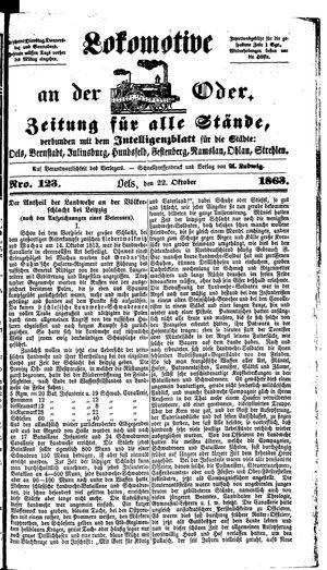 Lokomotive an der Oder vom 22.10.1863
