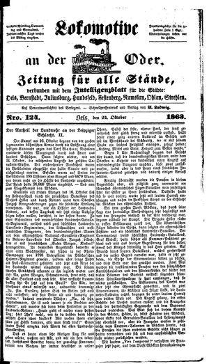 Lokomotive an der Oder vom 24.10.1863