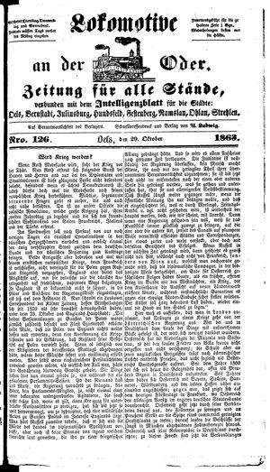Lokomotive an der Oder vom 29.10.1863
