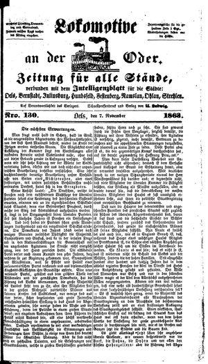 Lokomotive an der Oder vom 07.11.1863