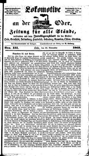 Lokomotive an der Oder vom 10.11.1863