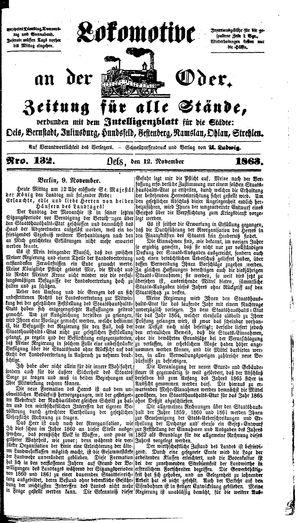 Lokomotive an der Oder vom 12.11.1863