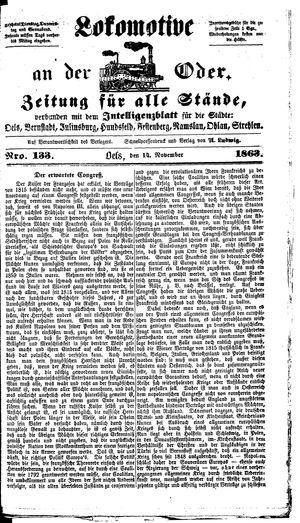 Lokomotive an der Oder vom 14.11.1863