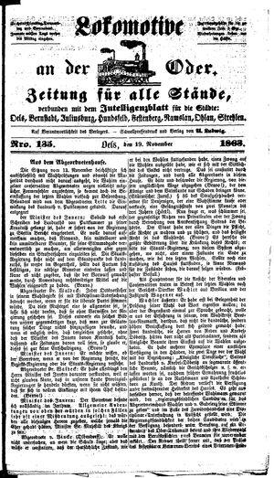 Lokomotive an der Oder vom 19.11.1863