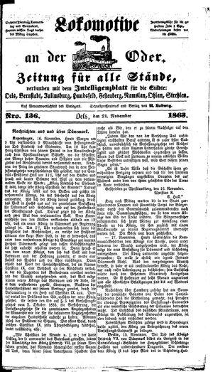 Lokomotive an der Oder vom 21.11.1863