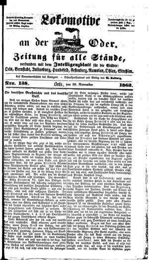 Lokomotive an der Oder vom 26.11.1863