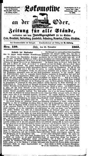 Lokomotive an der Oder vom 28.11.1863