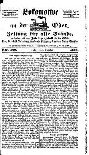 Lokomotive an der Oder vom 01.12.1863
