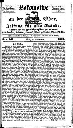 Lokomotive an der Oder vom 03.12.1863