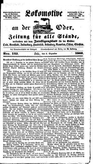 Lokomotive an der Oder vom 05.12.1863