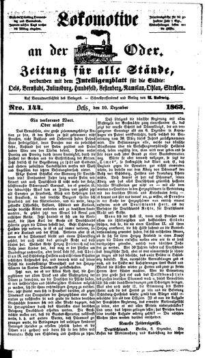 Lokomotive an der Oder on Dec 10, 1863