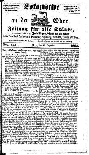 Lokomotive an der Oder vom 12.12.1863