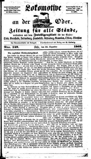 Lokomotive an der Oder vom 22.12.1863