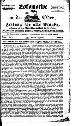 Lokomotive an der Oder vom 31.12.1863