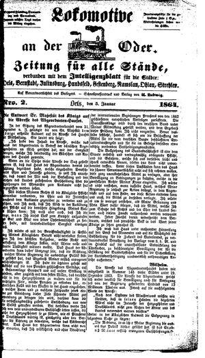 Lokomotive an der Oder vom 05.01.1864