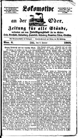 Lokomotive an der Oder vom 07.01.1864