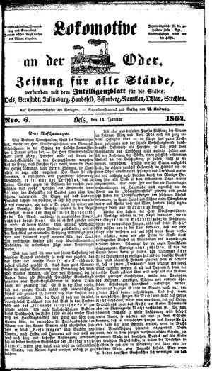 Lokomotive an der Oder vom 14.01.1864