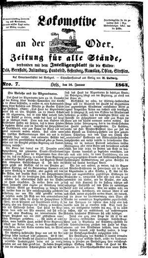 Lokomotive an der Oder vom 16.01.1864