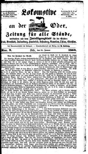 Lokomotive an der Oder on Jan 21, 1864