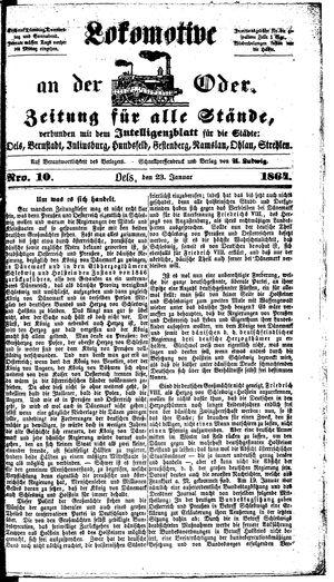 Lokomotive an der Oder on Jan 23, 1864