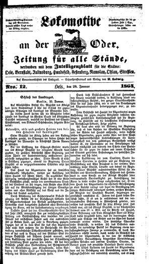 Lokomotive an der Oder vom 28.01.1864