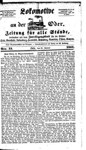 Lokomotive an der Oder on Jan 31, 1864