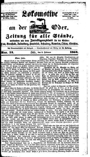 Lokomotive an der Oder vom 02.02.1864