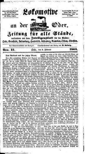 Lokomotive an der Oder on Feb 4, 1864