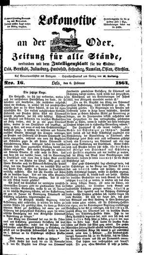 Lokomotive an der Oder vom 06.02.1864
