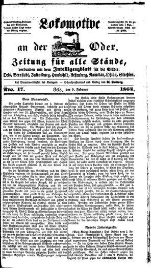 Lokomotive an der Oder vom 09.02.1864