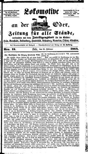 Lokomotive an der Oder vom 11.02.1864